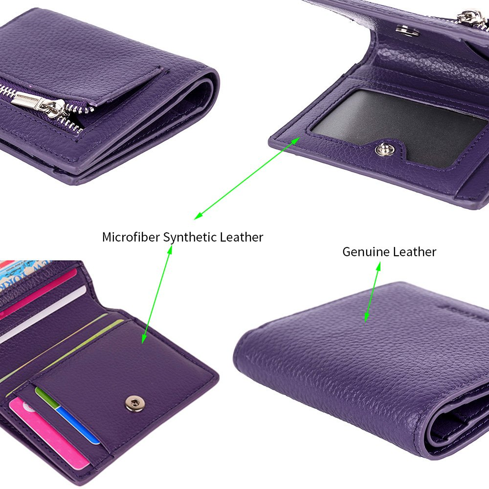 Women's Leather RFID Small Compact Bifold Pocket Wallet Ladies Mini Purse with id Window (Purple)