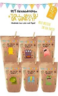 6x Bunte Monster Geschenktüten / Papiertüten Liebevoll Bedruckt Aus  Kraftpapier, Zum Verpacken Von Geschenken,