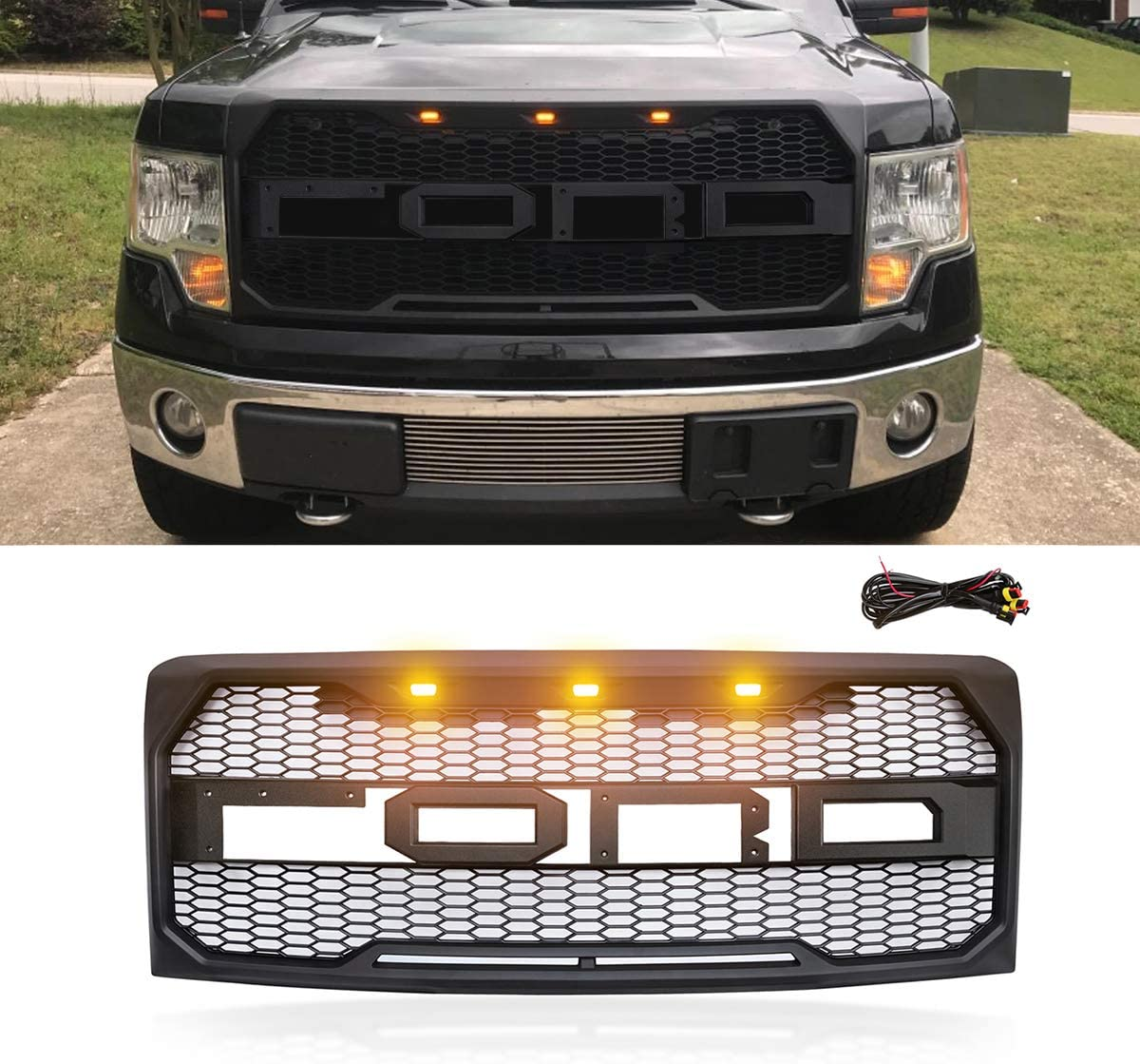 VZ4X4 Raptor Style Grille Mesh Grill Compatible with Ford F150 F-150 2009 2010 2011 2012 2013 2014 Matte Black