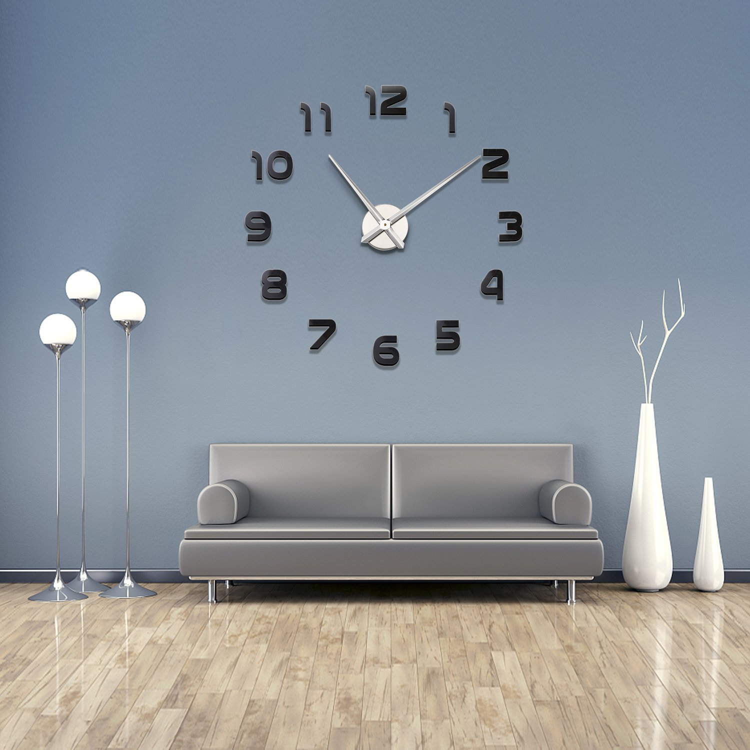 Soledi Wall Clock Modern DIY 3D Sticker Number Framless Clock Home