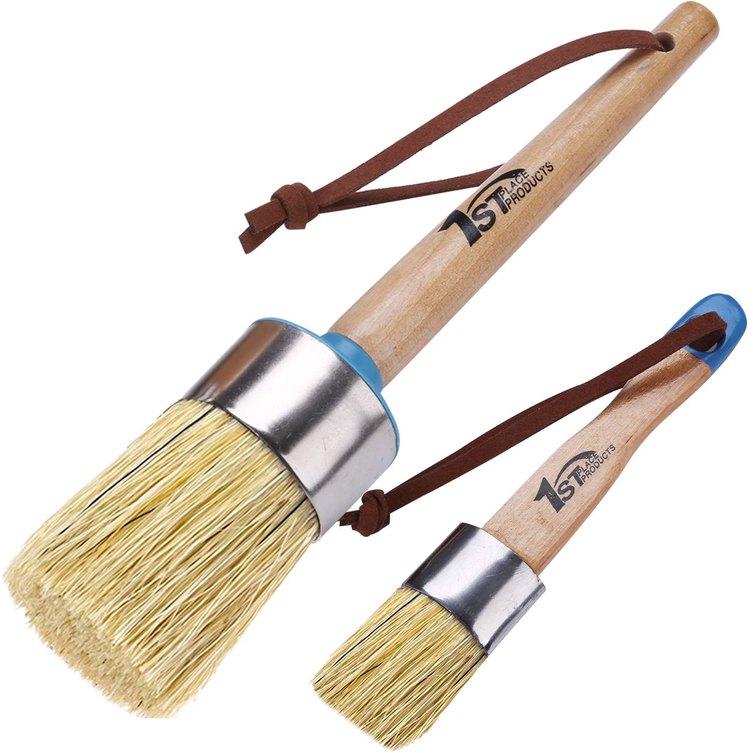 1st Place Products Large Round & Flat Brush Set - Excellent for Chalked Finish Paint & Waxes - Pure White Boar Hair Bristles by 1st Place Products