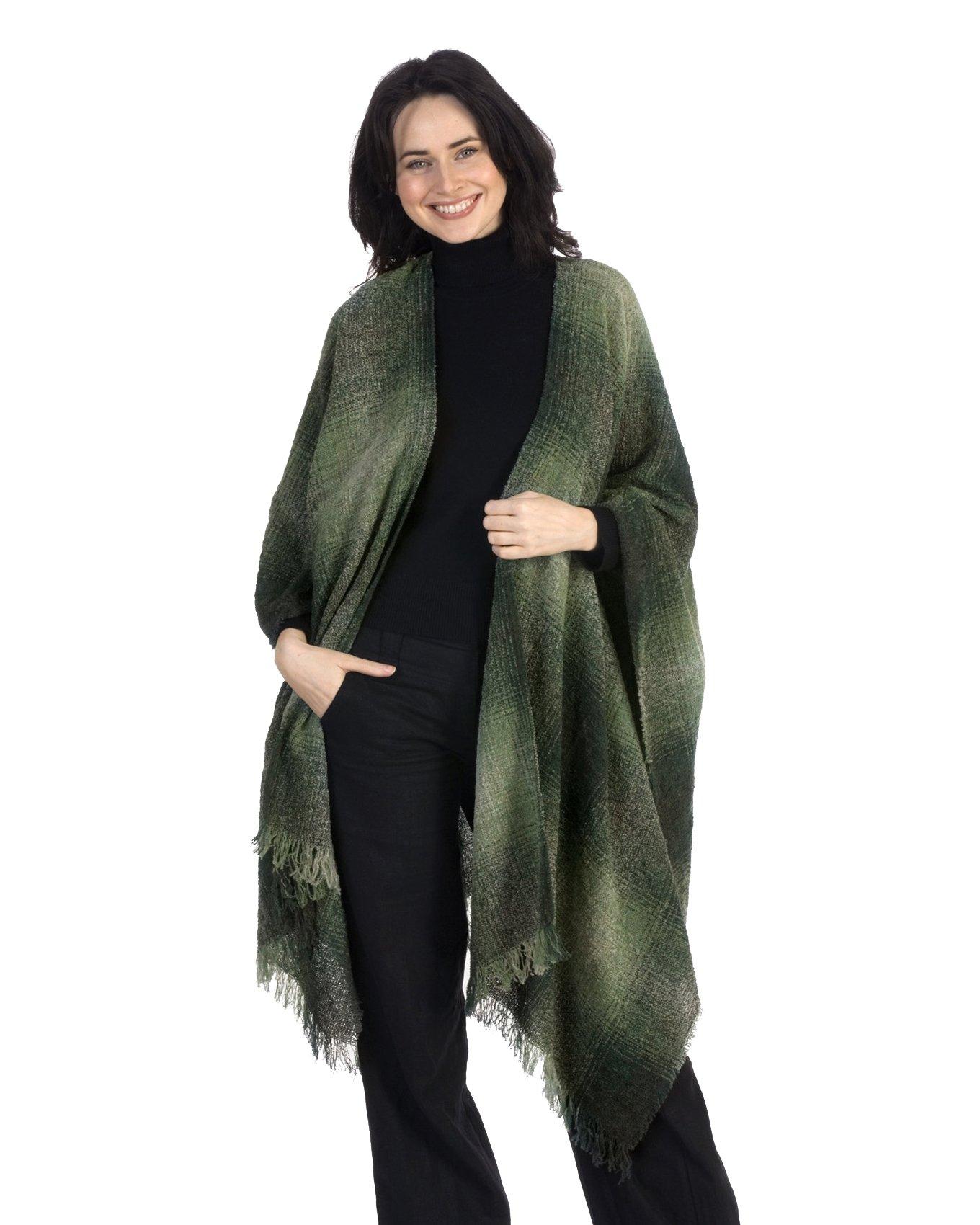 Kerry Woollen Mills Celtic Ruana Long Shawl Irish Wool Lambswool Green Check