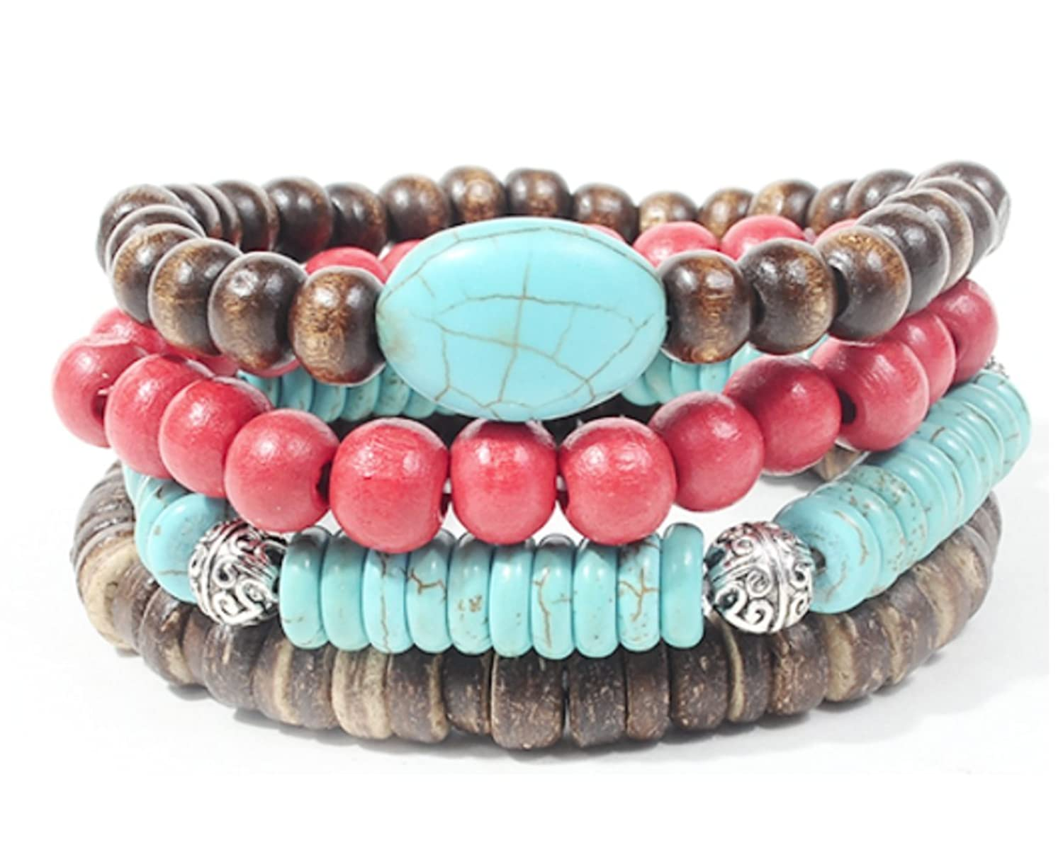 Turquoise and Cherry Beads Leather, and Hemp Boho Hippie Bracelet Sets with Colorful Gift Bag
