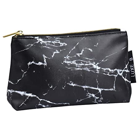 Marble Makeup Bag Cosmetic Bag Toiletry Case Pouch Organizer Travel Holder Kit Organizer Clutch Bag (White Marble & Black Marble) (Black) by Luxe B