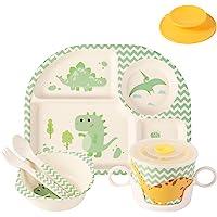 Shopwithgreen 5Pcs/Set Bamboo Kids Dinnerware Set - Children Dishes - Food Plate Bowl Cup Spoon Fork Set Dishware…
