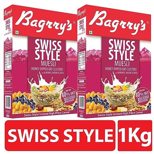 Bagrry's Swiss Style Muesli, 500 Gm (Pack of 2)