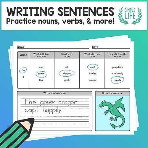 Practice Writing Sentences – Using Nouns, Verbs, Adjectives