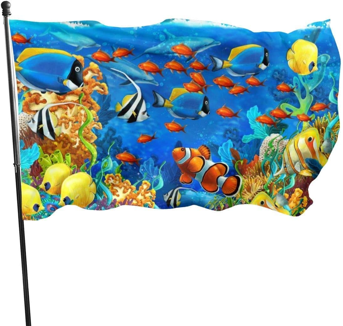 AOOEDM Ocean World Coral Blue Guard Flag 3x5ft Vivid Color for Inside/Outside Use UV Protected Guard Banner Flags