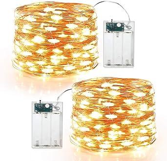 4PCS Guirnalda Luces Pilas,Tomshine 6m//19.69FT 60LED Luces LED Pilas,Luces Decorativas Habitacion,Cadena de Luces con Pilas de Alambre de Cobre para Interior Bodas Fiesta de Navidad(Blanco C/álido)