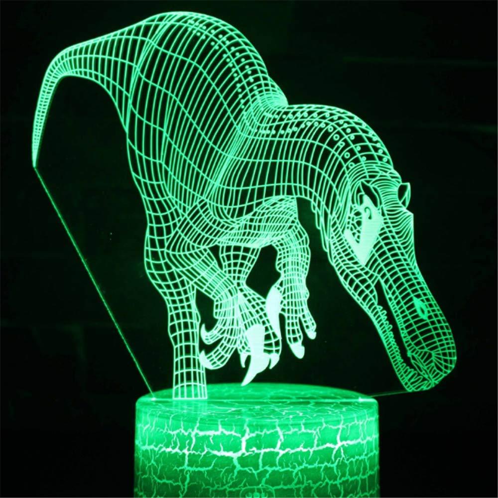 GTNLG Dinosaurio Serie Regalo 3D Lámpara De Escritorio LED Atmósfera Luz Creativa Regalo Serie Visual Estereoscópico Colorido Noche Luz,3 a74c03