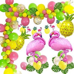 MMTX Hawaiana FiestaTropical Globos Decoración, Fiesta Hawaiana Hawaiana con Flamenco de piña Globos de Foli, Garland Bunting Banner para Decoraciones de Verano de la Selva