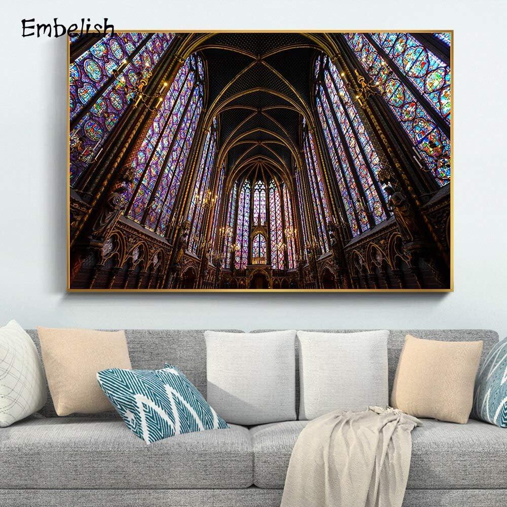 KWzEQ Imprimir en Lienzo Cartel de la Obra de Arte de la Pared de la Iglesia de Jesucristo y fotografías para la Sala de estar70x95cmPintura sin Marco