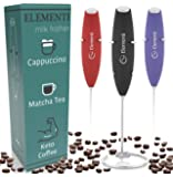 Elementi Milk Frother Handheld Electric Matcha Whisk, Handheld Milk Frother Electric Stirrer and Handheld Coffee Frother…