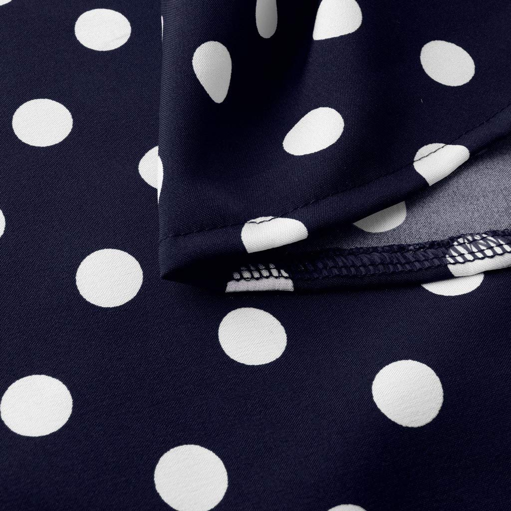 Womens Vintage Round Neck Polka Dot Casual Pockets Tunic Party Cocktail A-Line Summer Dress Work Wrap Dress