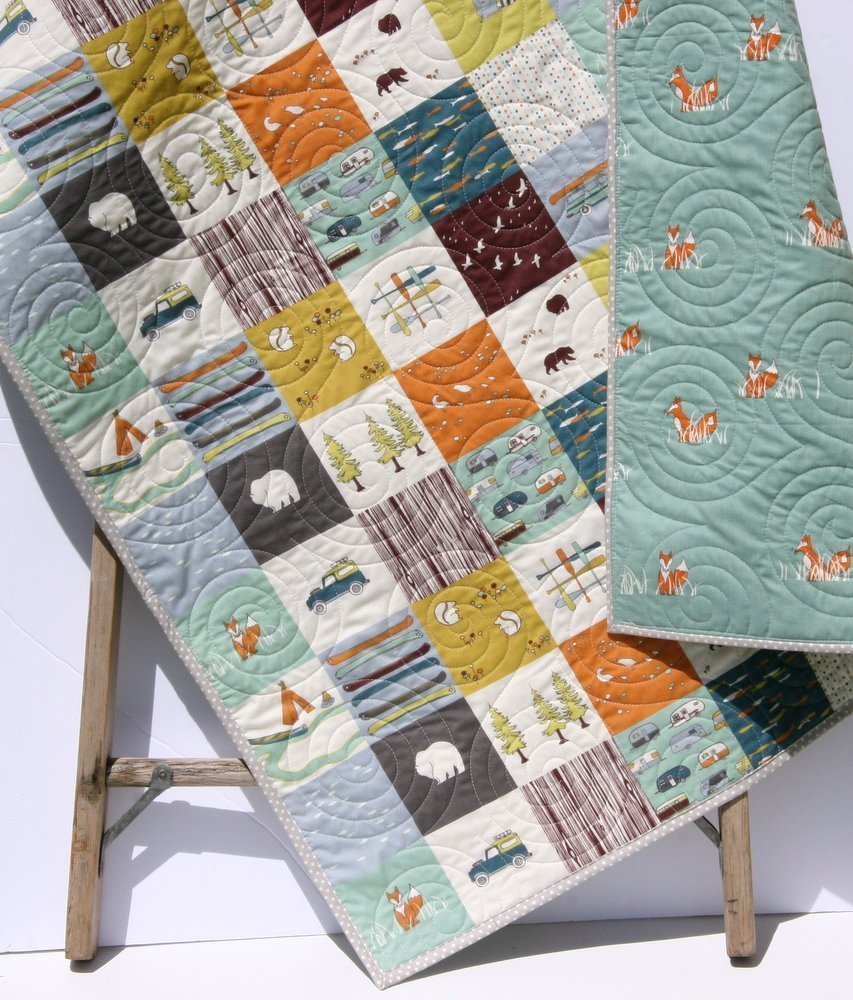 Amazon.com: Handmade Baby Quilt Fox Modern Baby Boy Bedding Woodland Deer  Bear Brown Blue Orange Camping Hiking Handmade Baby Quilt, Nursery Bedding  Blanket ...