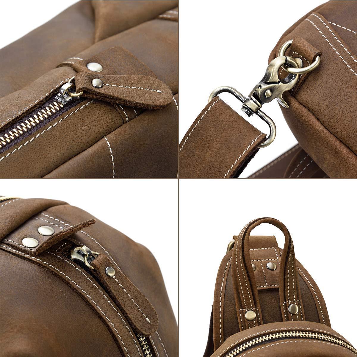 Brown 1 Luufan Hommes Sac /à bandouli/ère en cuir v/éritable sac /à bandouli/ère r/étro une /épaule 2way Durable Cross Body Bag Small