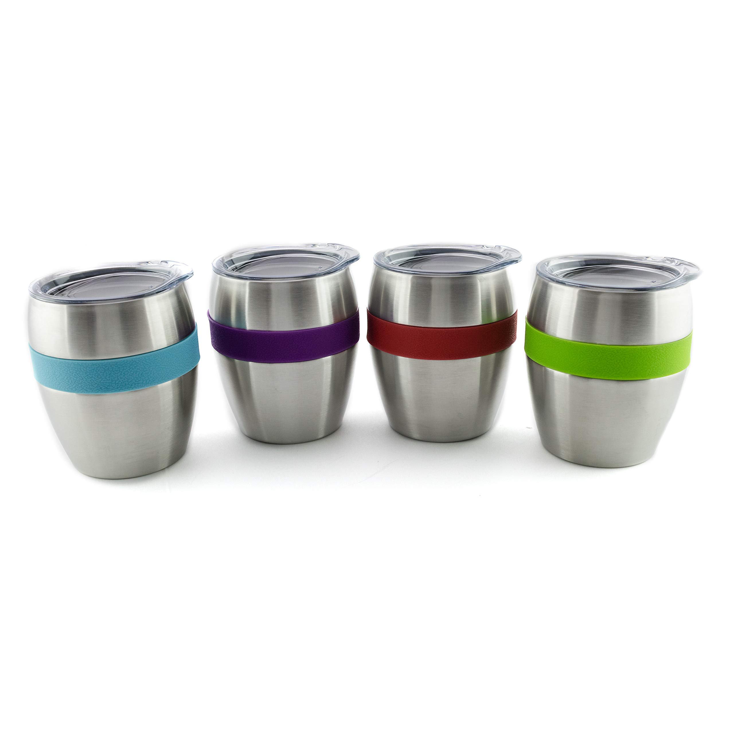 Stainless Steel Wine Glasses with Lids, Set of 4, Double Wall Insulated Stemless Wine and Drink Tumblers with Spill-Resistant Lids with Built -in 4 Color Comfort Grips by Chozin Steelware (Image #3)