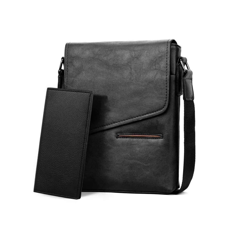 Nianchu Vintage Frosted Leather Messenger Bag for Man Brand Business Man Bag Mens Shoulder Bags front Pocket Men Handbag
