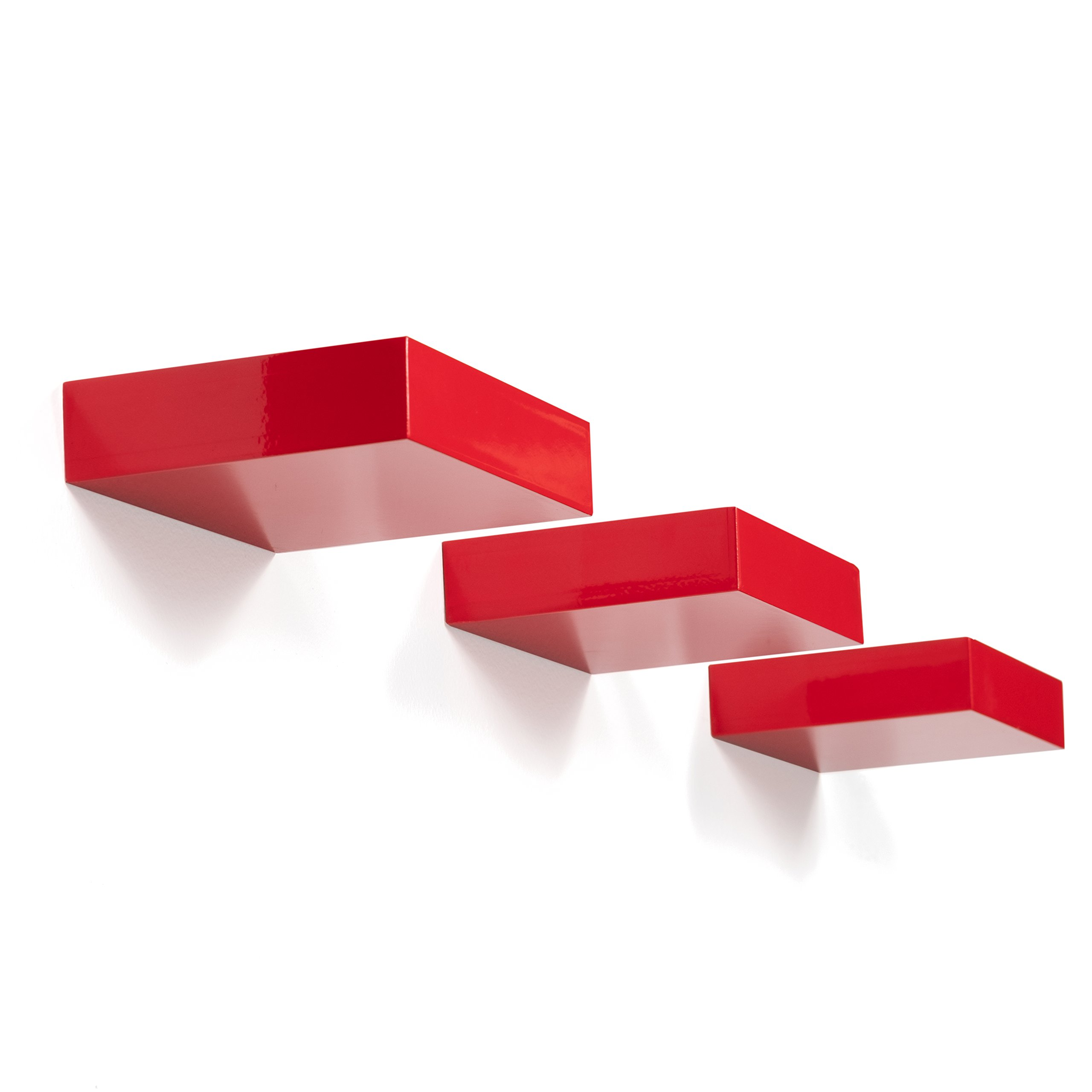 Brightmaison Showcase Wall Display Shelf Modern Glossy Each Floating Ledge Shelf(Red)