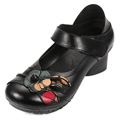 833371d440e638 socofy Retro Soft Shoes,Fashion Leather Folkways Round Head Mid Heel Hook  Loop Pastoral Floral