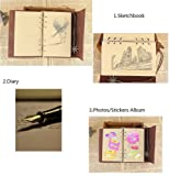 Vintage Refillable Journey Diary, Assassin Embossed Art Premium PU Leather Classic Travel Journal Notebook with Card Holder and Retro Pendants