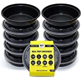 Bolt Goods Round Meal Prep Containers BOWLS (10 Pack - 28 Ounce) MADE IN USA - Reusable Washable Microwavable Plastic Food Storage Bento Box with Lids - BPA FREE
