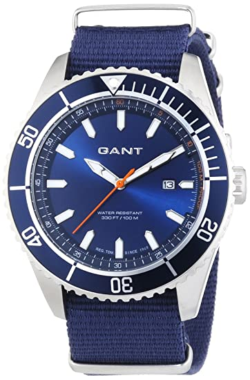 GANT SEABROOK MILITARY - Reloj Analógico de Cuarzo para Hombre, correa de Nailon color Azul: Amazon.es: Relojes