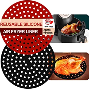 Udofine Reusable Air Fryer Liners- 9 Inch Round, Silicone Non-Stick Air Fryer Mats Air Fryer Accessories for INSTANT VORTEX and MORE, Replacement Of Parchment Paper Liners Food Safe (2packs)