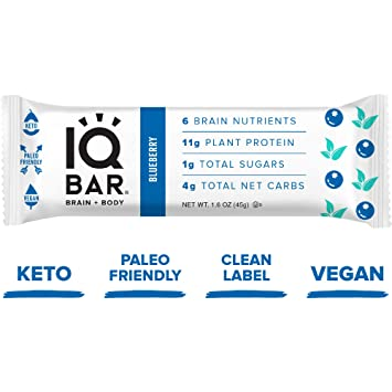 IQ BAR Brain + Body Bar Blueberry 12 Count   11g Plant Protein, 1g Sugar,  4g Net Carbs, Keto, Paleo