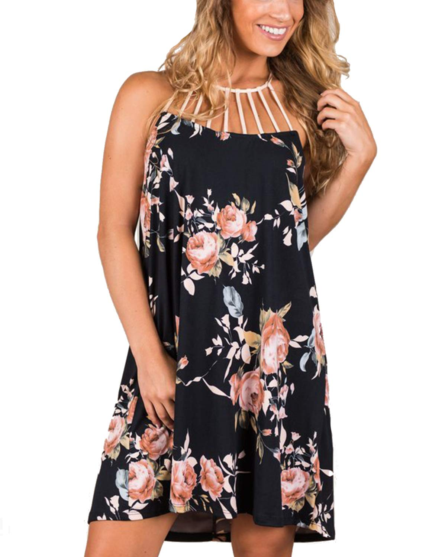 Blooming Jelly Women's Floral Print Halter Sleeveless Boho Flowy Mini Dress Black