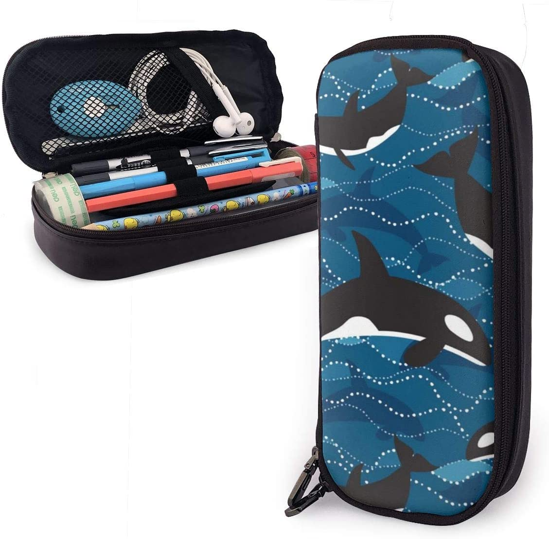 NiYoung Unisex Big Capacity Pencil Case Holder Pen Organizer Pouch Stationery Box Large Storage College Middle School & Office Supplies Stationery - Ocean Orcas