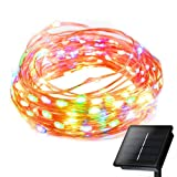 LED String Lights MECO Battery Operated Waterproof Fairy Lights Outdoor Copper Wire Lights 2700K 10m/33ft 100 LED Christmas Lights for Xmas, Wedding, Party, Home Decorations (Multicolor)