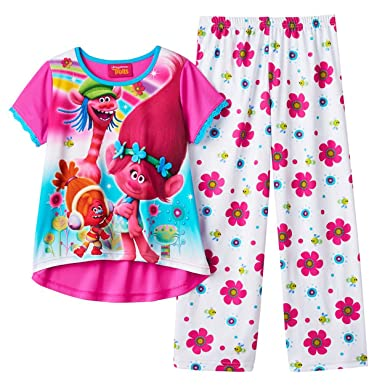 3d9435e37bf6 Amazon.com: Dreamworks Movie Trolls Pajama for Little Girls (8, White):  Clothing