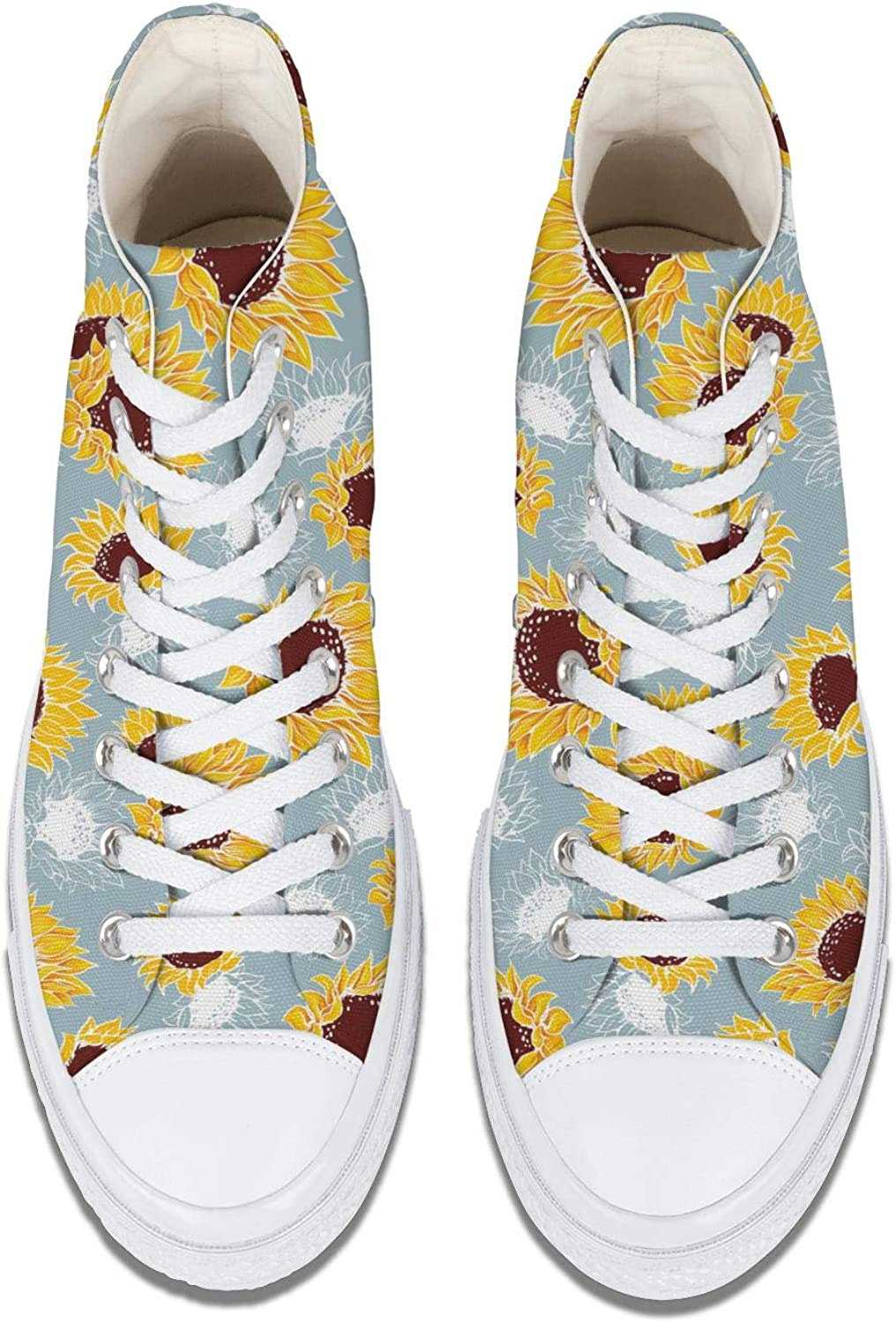 Daalgggg Girl Canvas Shoes High Top Lace Ups Running Shoes Sunflower Black Background Pattern Skate Trainers Sneaker