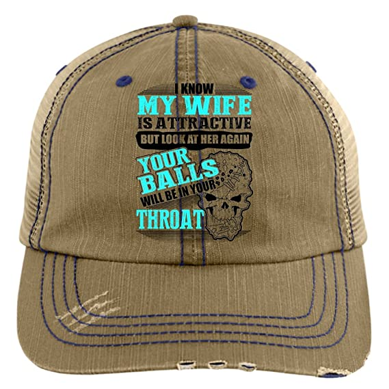 She Is My Wife Hat, I Know My Wife Is Attractive Trucker Cap (Trucker Cap - Khaki) at Amazon Mens Clothing store: