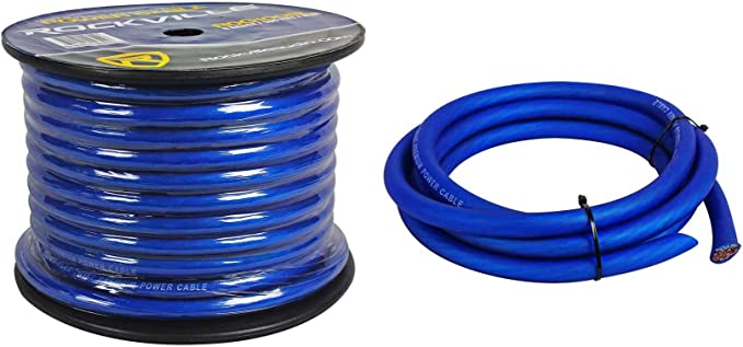 BLUE PREMIUM 1//0 GAUGE POWER WIRE GROUND CABLE AMP WIRING OXYGEN FREE 25 FT