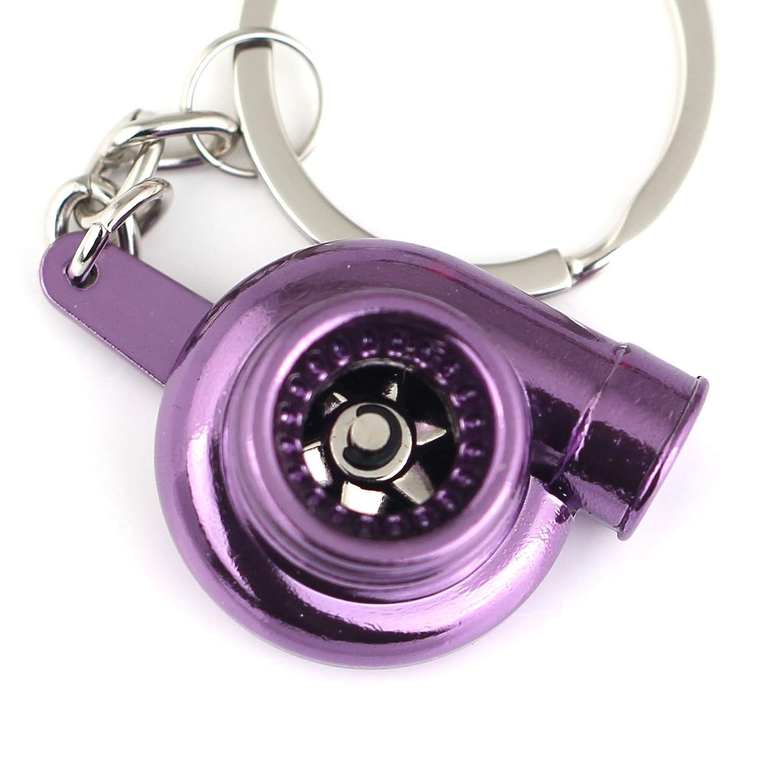 Maycom Creative Spinning New Chrome Polished Gunmetal Black Turbo Turbocharger Keychain Key Chain Ring Keyring Keyfob, make Whistle Sound