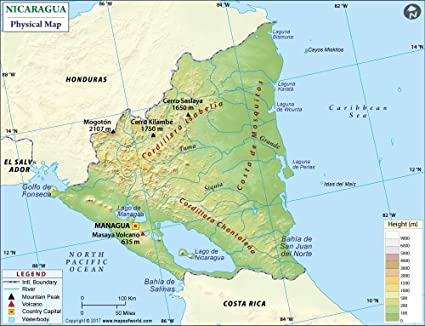 Amazon.com : Nicaragua Physical Map (36