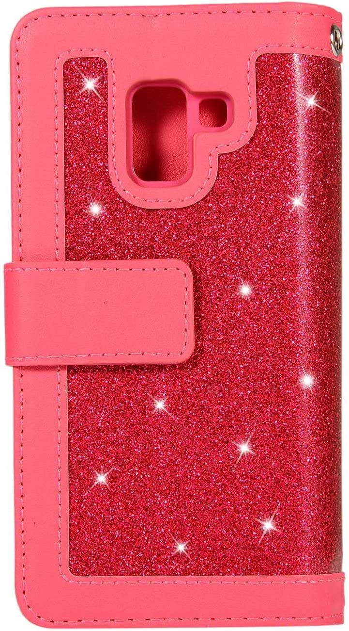 DENDICO Galaxy A5 2018 Wallet Case Glitter Leather Case with Money Pocket and Card Holder Slim Flip Cover with Magnetic Closure for Samsung Galaxy A5 2018 Red