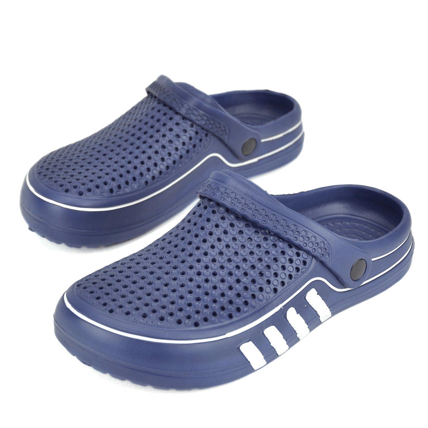 Maya Karis Purse MKP Collection Unisex Outdoor Clogs Sandals Lightweight Summer Slippers Indoor Home Shoes (7 US Men/9 US Women M, Navy/White)