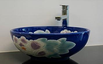 Lavabo redondo de cerámica para baño o maceta de jardín con flores: Amazon.es: Bricolaje y herramientas