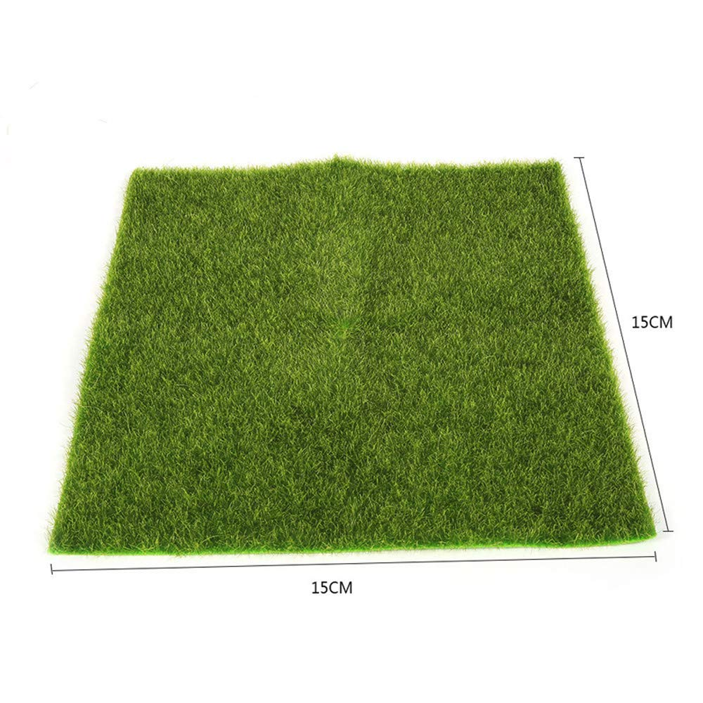 Binory Mini Artificial Moss Lawn for 1/12 Dollhouse Furniture,Fashion Modern Design Miniature Home Fairy Garden Kids Pretend Toy,Creative Birthday Handcraft Gift(15x15cm/6x6inch) S