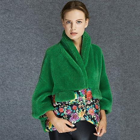 Pasteles alta gama Europea otoño/invierno abrigos mujeres desgaste ovejas lana costura impresión corto manto