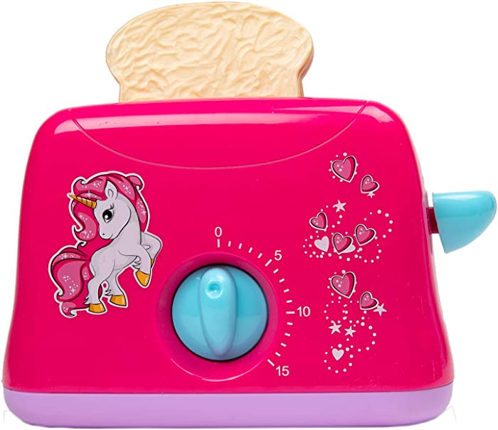 Toy Chef Play Kitchen Appliances – Premium Pretend Toaster for Kids– Unicorn-Theme Pink Toddler Kitchen Accessories – Cool Present for Girls and Boys