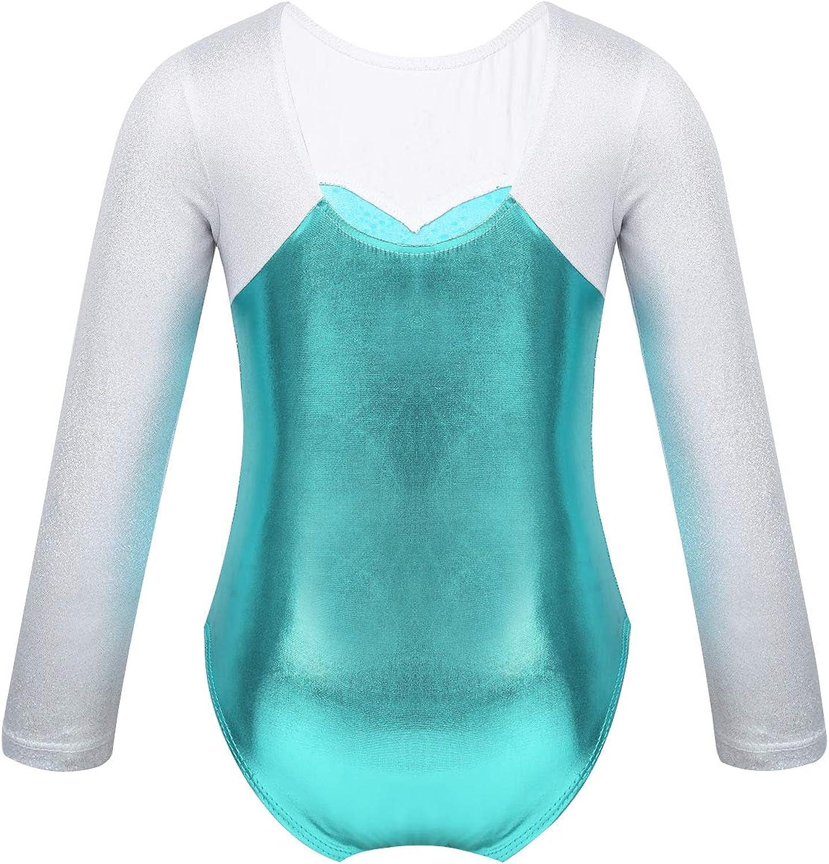 iEFiEL Kids Girls Long Sleeve Shiny Snowflake Metallic Ballet Athletic Dance Outfit Gymnastics Leotard Costume