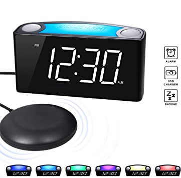 Amazon Com Rocam Vibrating Loud Alarm Clock With Bed Shaker Best
