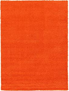 10' x 13' Traditional Luxurious Polypropylene Fiber Shag Area Rug, Glam Lush Texture Cotton Jute Backing Material Thick Accent Indoor Outdoor Area Rug, Adorable Solid Color Tiger Orange Area Rug
