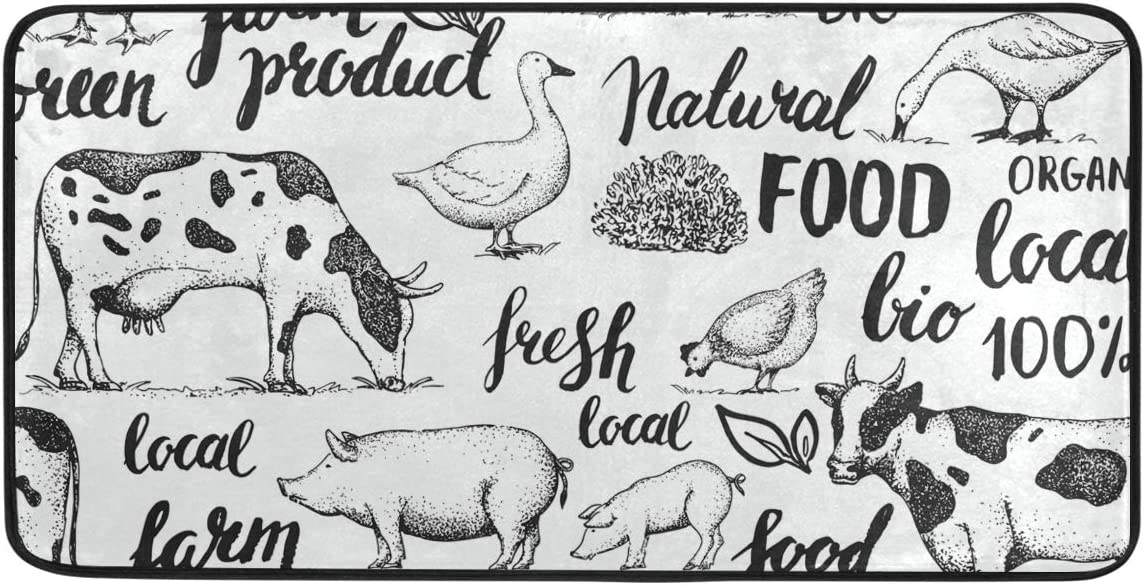 "Jereee Farm Animals Pig Cow Rooster Duck Non-Slip Kitchen Mat Rectangle Polyester Doormat Floor Runner Rug Home Decor 39"" x 20"""