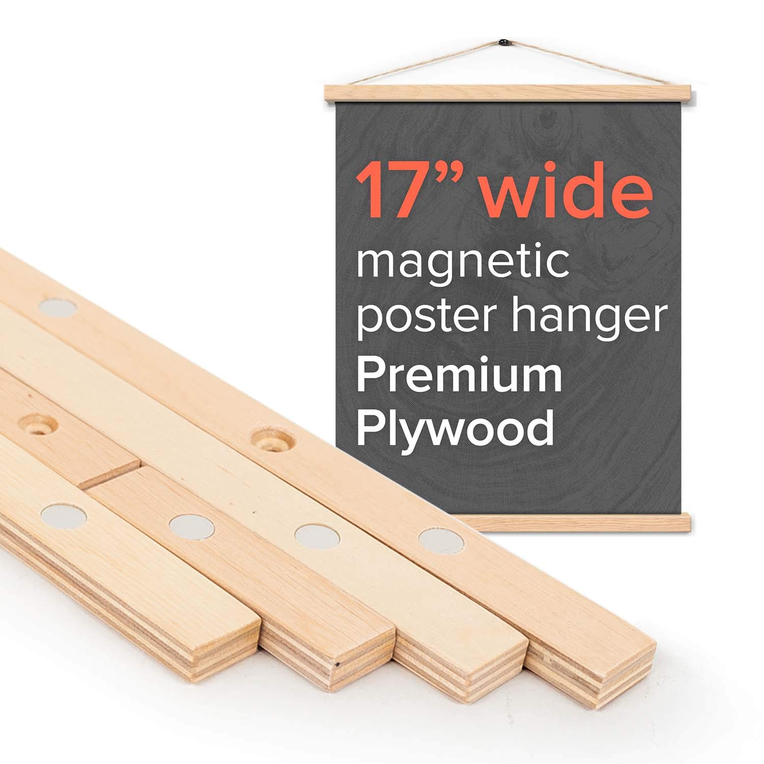 Stiicks 17'' Wide Magnetic Poster Frame Hanger in Birch - Premium Plywood and Magnets Strong Enough to Hang Any Length