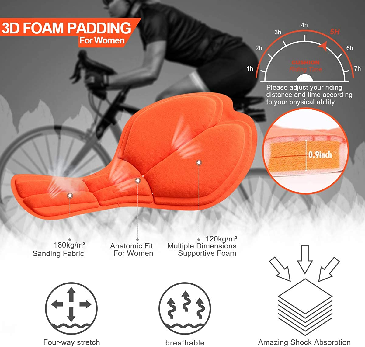 Ekmoment Cycling Shorts Womens 3D Padded Bike Bicycle Biking Underwear Shorts